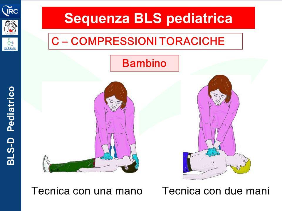 BLS-D Pediatrico C – COMPRESSIONI TORACICHE Sequenza BLS pediatrica Bambino Tecnica con due maniTecnica con una mano