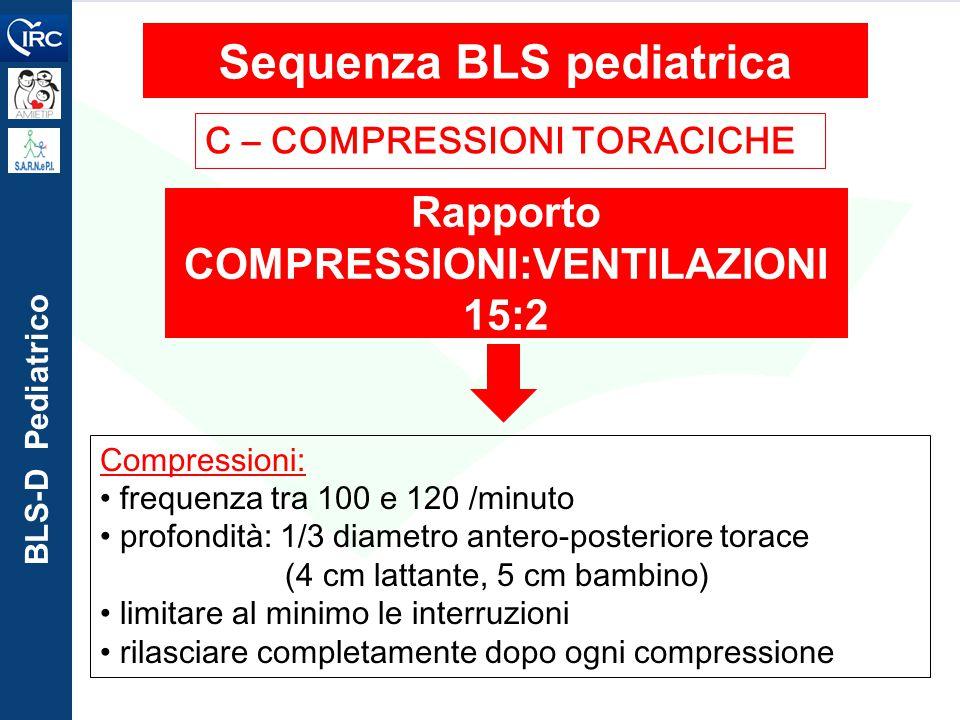 BLS-D Pediatrico C – COMPRESSIONI TORACICHE Sequenza BLS pediatrica Rapporto COMPRESSIONI:VENTILAZIONI 15:2 Compressioni: frequenza tra 100 e 120 /min