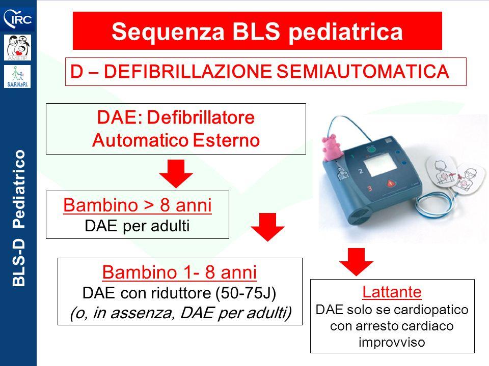 BLS-D Pediatrico D – DEFIBRILLAZIONE SEMIAUTOMATICA Sequenza BLS pediatrica DAE: Defibrillatore Automatico Esterno Bambino > 8 anni DAE per adulti Bam