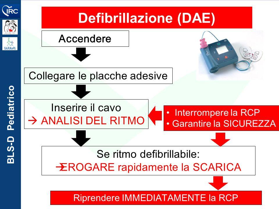 BLS-D Pediatrico Defibrillazione (DAE) Accendere Collegare le placche adesiveInserire il cavo  ANALISI DEL RITMO Interrompere la RCP Garantire la SIC