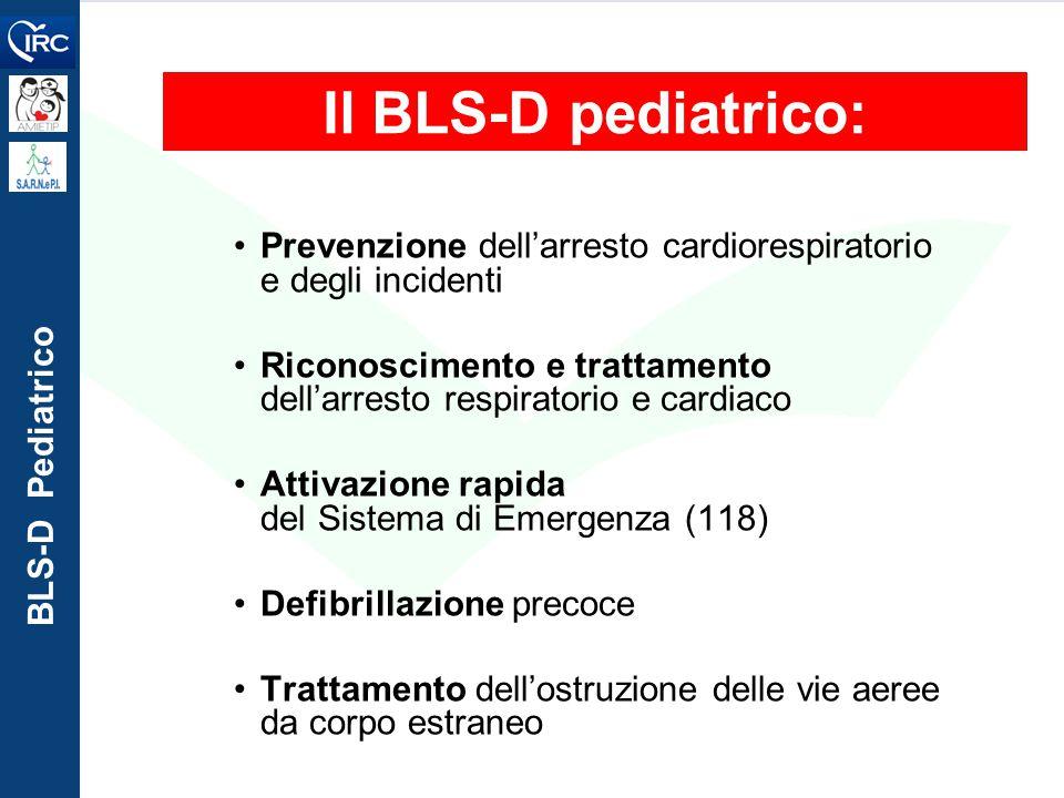 BLS-D Pediatrico Il BLS-D pediatrico: Prevenzione dell'arresto cardiorespiratorio e degli incidenti Riconoscimento e trattamento dell'arresto respirat