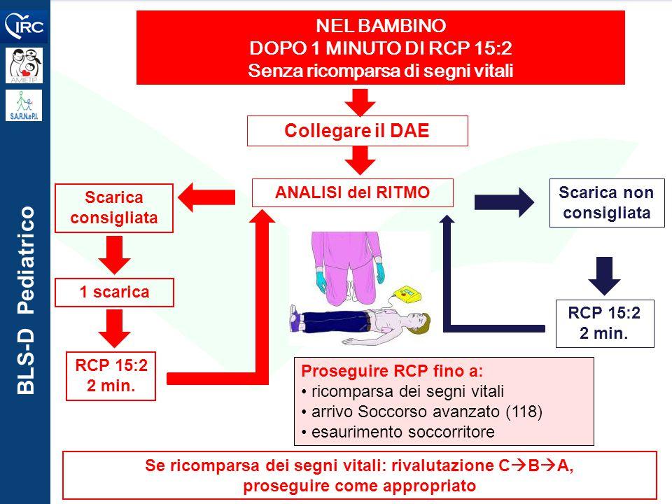 BLS-D Pediatrico Collegare il DAE ANALISI del RITMO NEL BAMBINO DOPO 1 MINUTO DI RCP 15:2 Senza ricomparsa di segni vitali Se ricomparsa dei segni vit