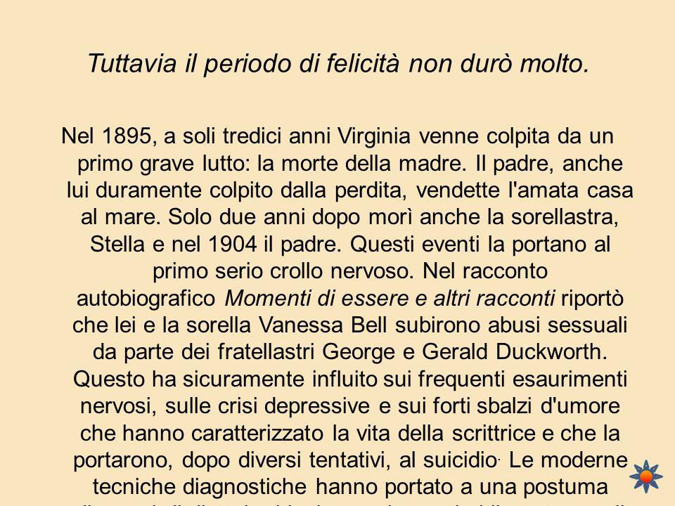 Tuttavia il periodo di felicità non durò molto. Nel 1895, a soli tredici anni Virginia venne colpita da un primo grave lutto: la morte della madre. Il
