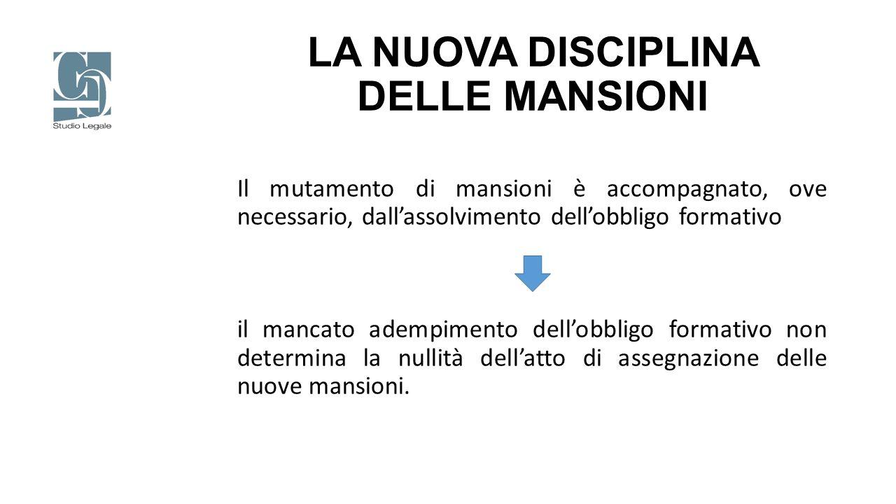 LA NUOVA DISCIPLINA DELLE MANSIONI Il mutamento di mansioni è accompagnato, ove necessario, dall'assolvimento dell'obbligo formativo il mancato adempi