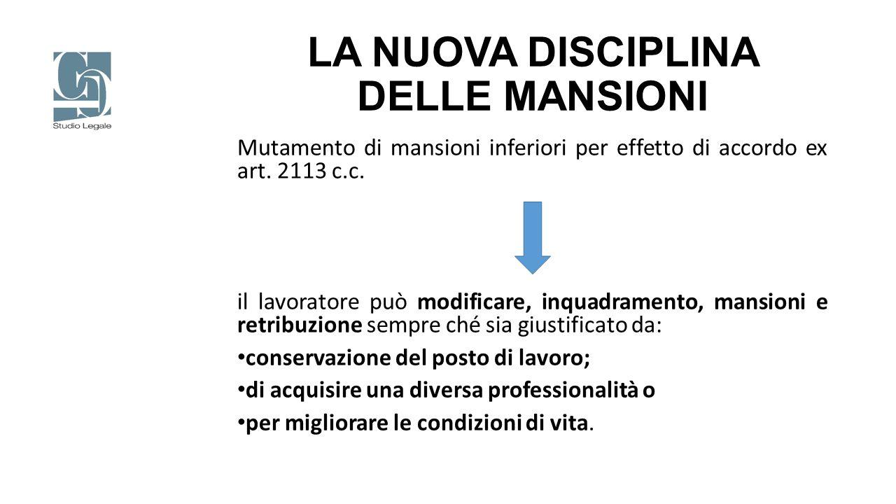LA NUOVA DISCIPLINA DELLE MANSIONI Mutamento di mansioni inferiori per effetto di accordo ex art. 2113 c.c. il lavoratore può modificare, inquadrament