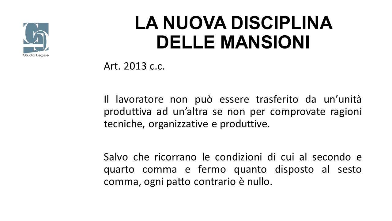 LA NUOVA DISCIPLINA DELLE MANSIONI Art. 2013 c.c. Il lavoratore non può essere trasferito da un'unità produttiva ad un'altra se non per comprovate rag