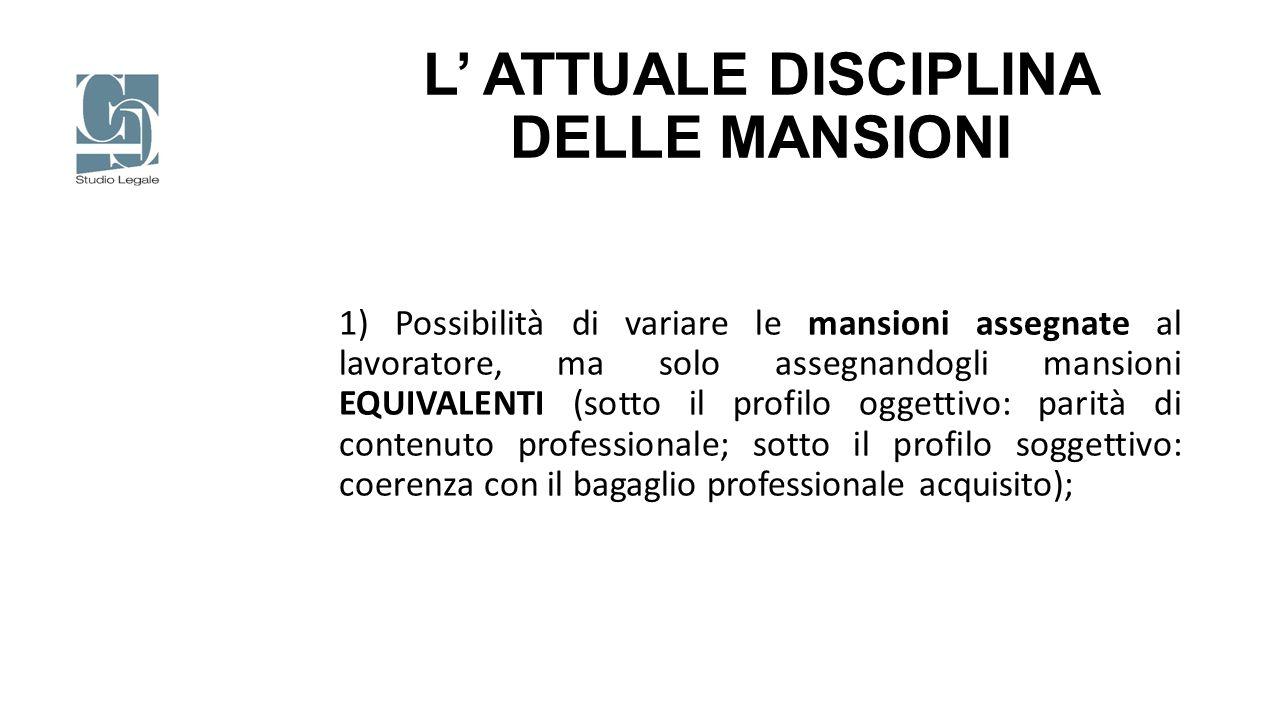 L' ATTUALE DISCIPLINA DELLE MANSIONI 2) Divieto (pressoché) assoluto di modifica peggiorativa delle mansioni assegnate al lavoratore eccetto che nei casi di legge e ammessi dalla giurisprudenza);