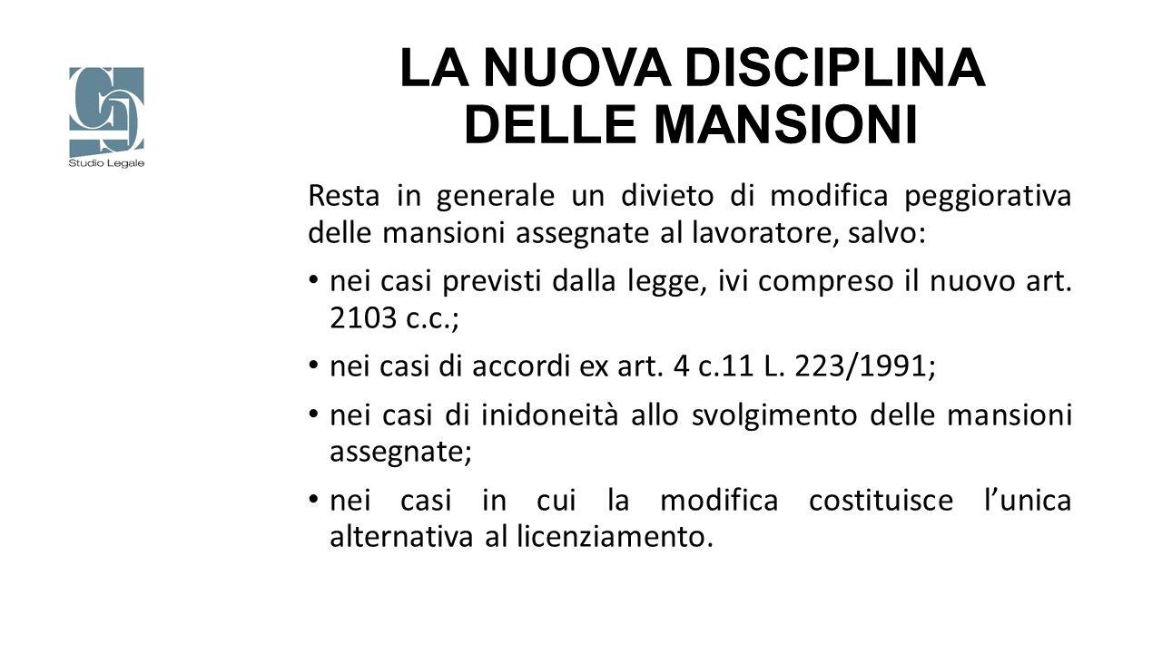 LA NUOVA DISCIPLINA DELLE MANSIONI L'art.2103 c.c.