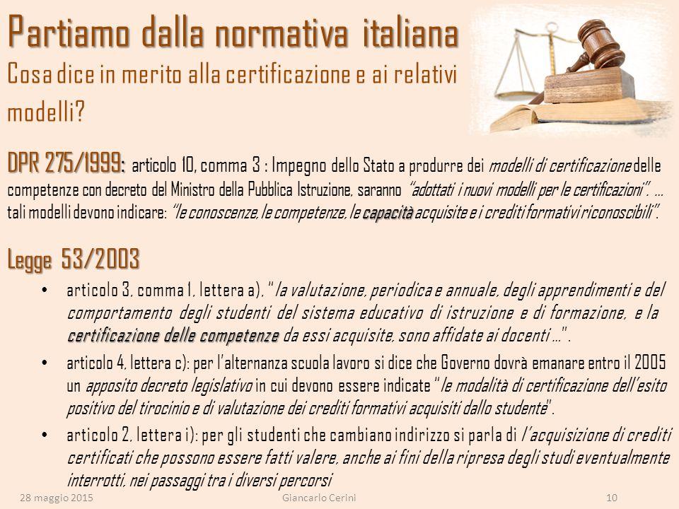 Partiamo dalla normativa italiana Partiamo dalla normativa italiana Cosa dice in merito alla certificazione e ai relativi modelli? DPR 275/1999: capac