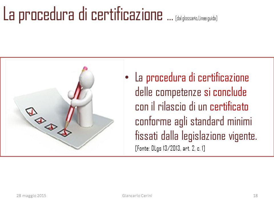 La procedura di certificazione … [dal glossario, Linee guida] La procedura di certificazione delle competenze si conclude con il rilascio di un certif