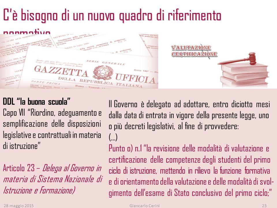 C'è bisogno di un nuovo quadro di riferimento normativo 28 maggio 2015Giancarlo Cerini23 Il Governo è delegato ad adottare, entro diciotto mesi dalla data di entrata in vigore della presente legge, uno o più decreti legislativi, al fine di provvedere: (…) Punto o) n.1 la revisione delle modalità di valutazione e certificazione delle competenze degli studenti del primo ciclo di istruzione, mettendo in rilievo la funzione formativa e di orientamento della valutazione e delle modalità di svol- gimento dell'esame di Stato conclusivo del primo ciclo; DDL la buona scuola Capo VII Riordino, adeguamento e semplificazione delle disposizioni legislative e contrattuali in materia di istruzione Articolo 23 – Delega al Governo in materia di Sistema Nazionale di Istruzione e Formazione)