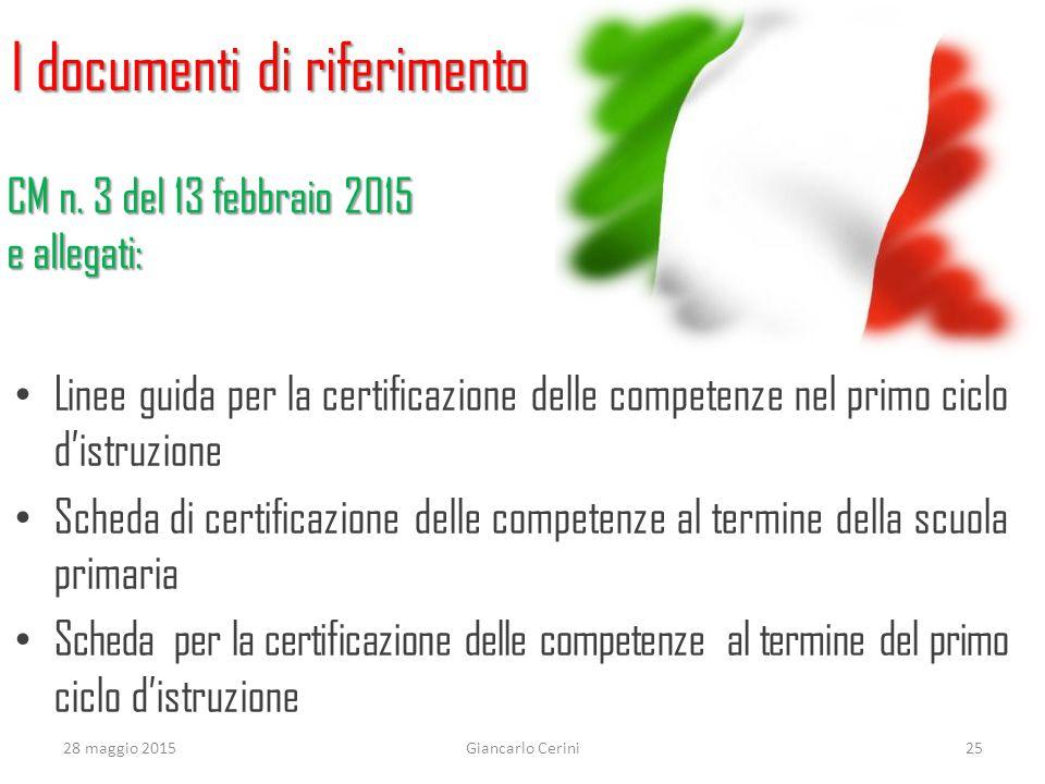 I documenti di riferimento Linee guida per la certificazione delle competenze nel primo ciclo d'istruzione Scheda di certificazione delle competenze a