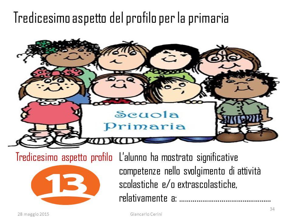 28 maggio 2015Giancarlo Cerini Tredicesimo aspetto profilo L'alunno ha mostrato significative competenze nello svolgimento di attività scolastiche e/o extrascolastiche, relativamente a: ………………………………………… Tredicesimo aspetto del profilo per la primaria 34