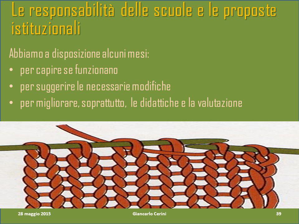 Le responsabilità delle scuole e le proposte istituzionali Abbiamo a disposizione alcuni mesi: per capire se funzionano per suggerire le necessarie modifiche per migliorare, soprattutto, le didattiche e la valutazione 39Giancarlo Cerini28 maggio 2015