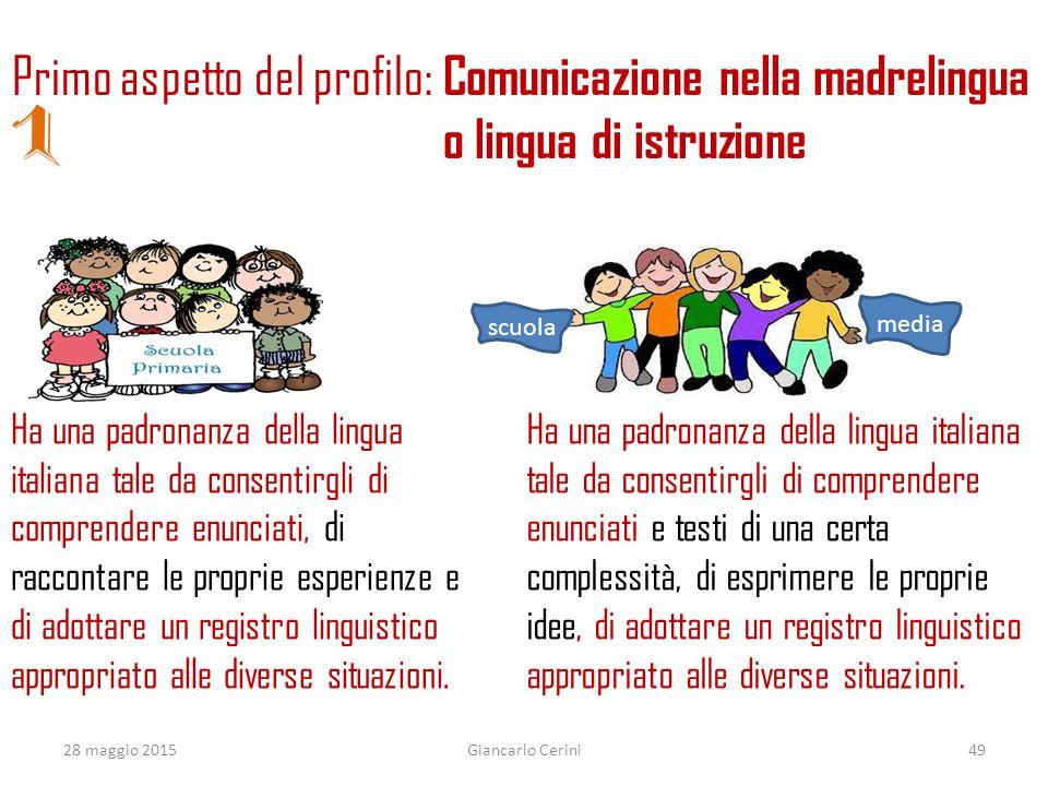 Ha una padronanza della lingua italiana tale da consentirgli di comprendere enunciati, di raccontare le proprie esperienze e di adottare un registro l