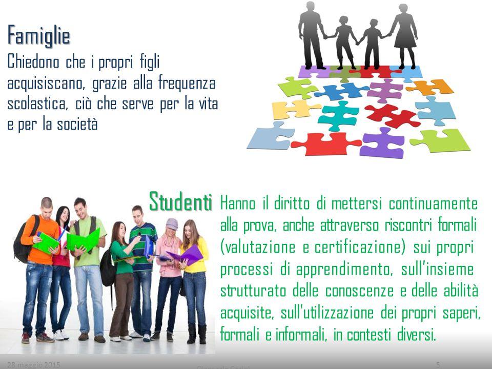 28 maggio 2015 Giancarlo Cerini 5 Chiedono che i propri figli acquisiscano, grazie alla frequenza scolastica, ciò che serve per la vita e per la socie