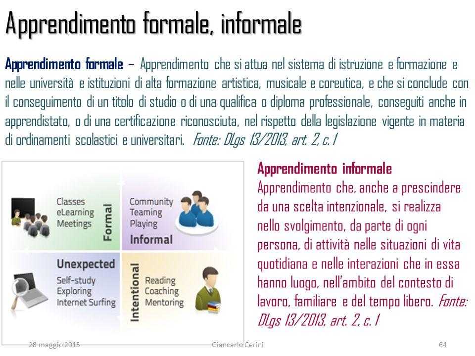 Apprendimento formale, informale Apprendimento informale Apprendimento che, anche a prescindere da una scelta intenzionale, si realizza nello svolgime