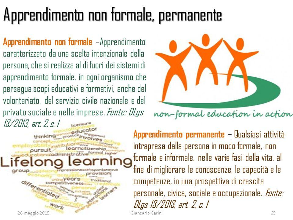 Apprendimento non formale, permanente Apprendimento permanente – Qualsiasi attività intrapresa dalla persona in modo formale, non formale e informale,