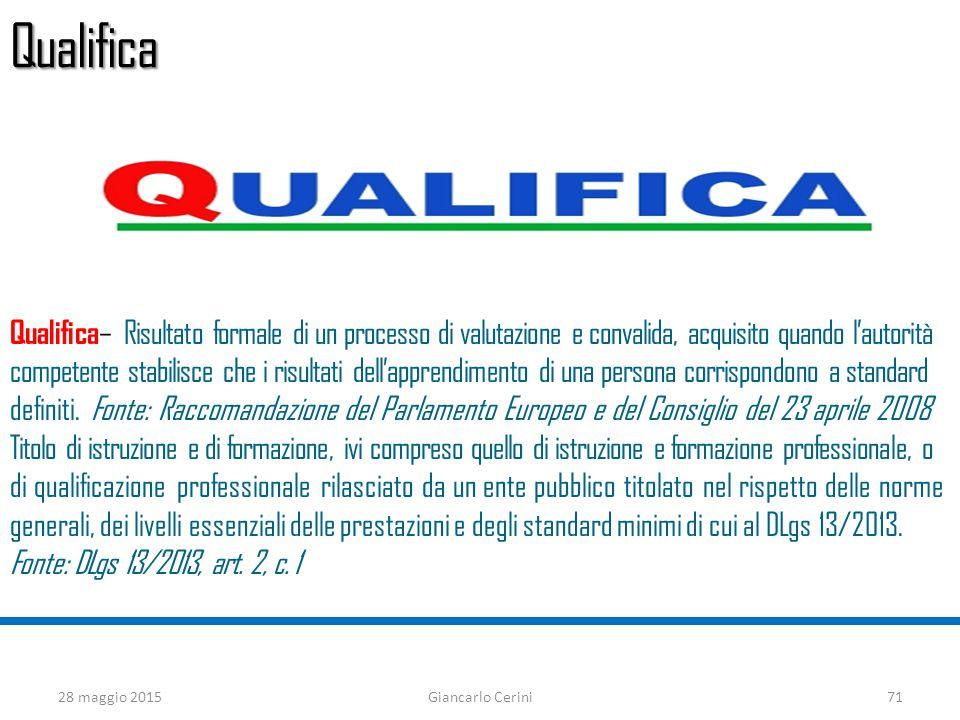 Qualifica Qualifica – Risultato formale di un processo di valutazione e convalida, acquisito quando l'autorità competente stabilisce che i risultati dell'apprendimento di una persona corrispondono a standard definiti.