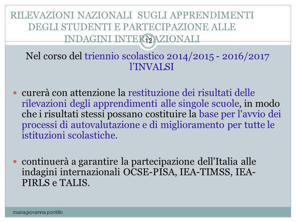 RILEVAZIONI NAZIONALI SUGLI APPRENDIMENTI DEGLI STUDENTI E PARTECIPAZIONE ALLE INDAGINI INTERNAZIONALI mariagiovanna pontillo 12 Nel corso del trienni