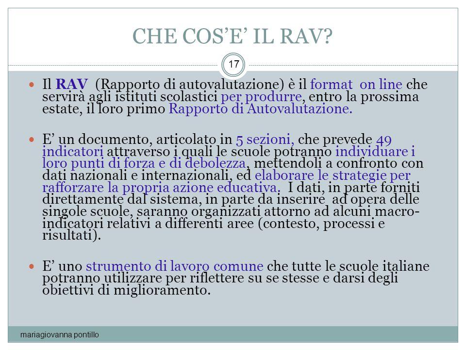 CHE COS'E' IL RAV? mariagiovanna pontillo 17 Il RAV (Rapporto di autovalutazione) è il format on line che servirà agli istituti scolastici per produrr