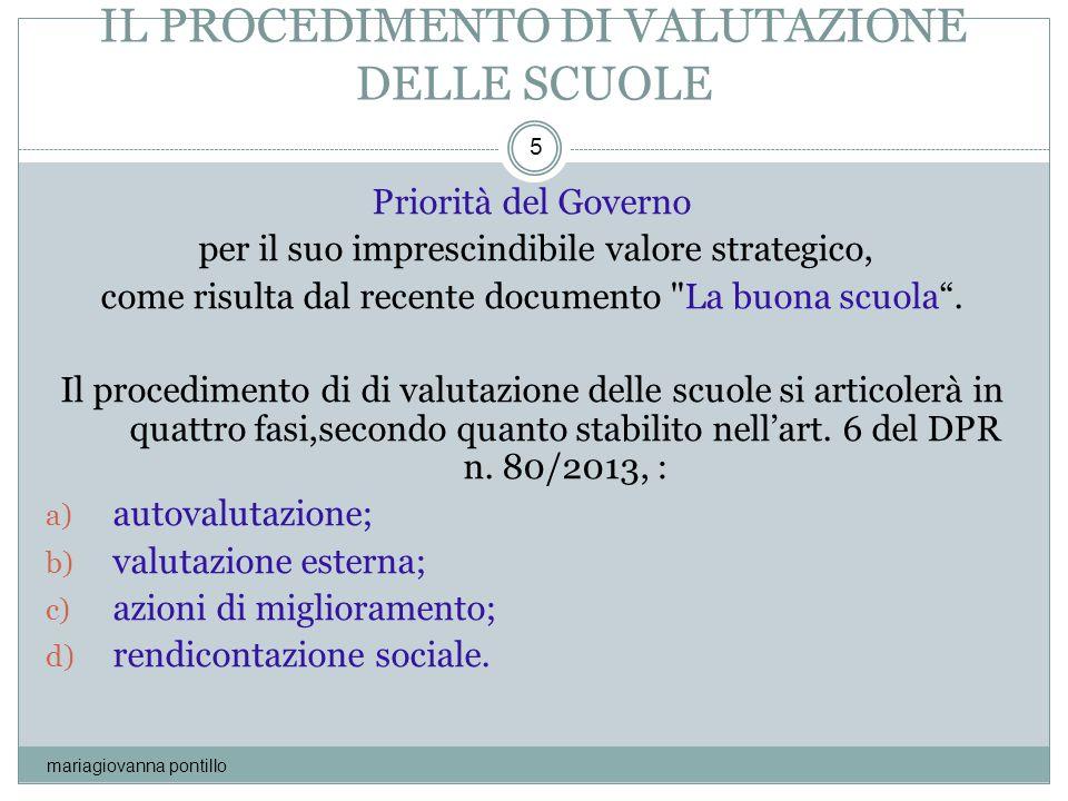 IL PROCEDIMENTO DI VALUTAZIONE DELLE SCUOLE mariagiovanna pontillo 5 Priorità del Governo per il suo imprescindibile valore strategico, come risulta d