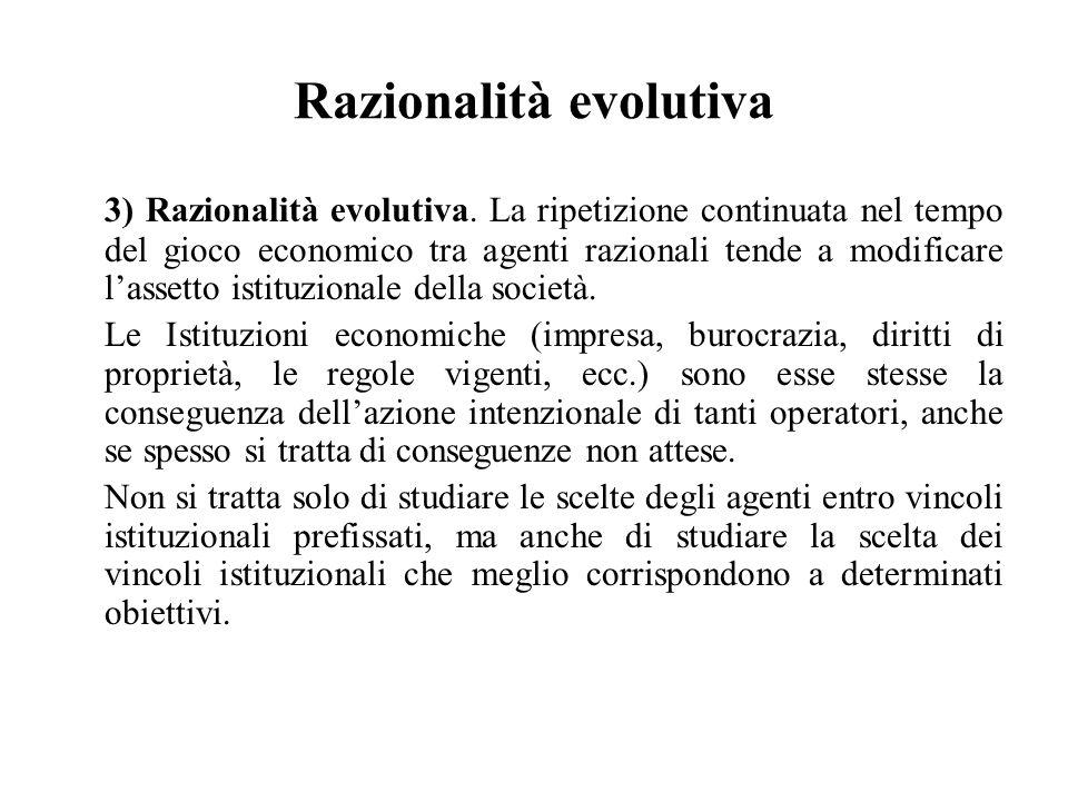Razionalità evolutiva 3) Razionalità evolutiva. La ripetizione continuata nel tempo del gioco economico tra agenti razionali tende a modificare l'asse