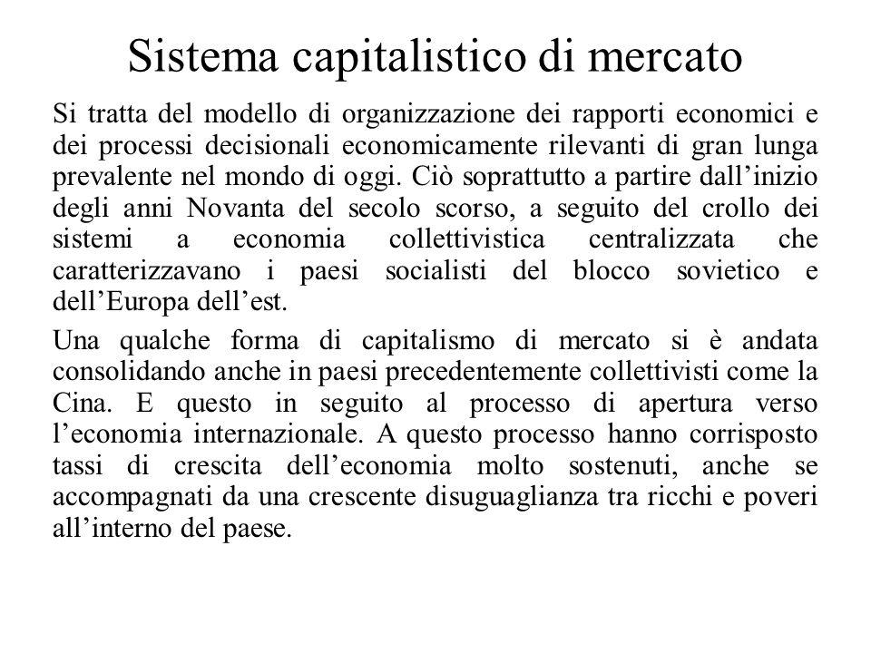 Sistema capitalistico di mercato Si tratta del modello di organizzazione dei rapporti economici e dei processi decisionali economicamente rilevanti di