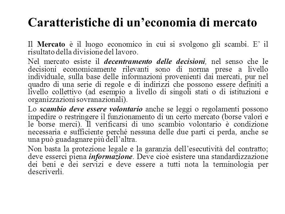 Caratteristiche di un'economia di mercato Il Mercato è il luogo economico in cui si svolgono gli scambi. E' il risultato della divisione del lavoro. N
