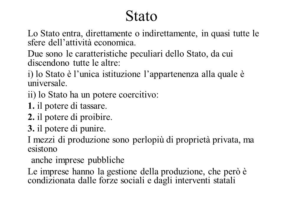 Stato Lo Stato entra, direttamente o indirettamente, in quasi tutte le sfere dell'attività economica. Due sono le caratteristiche peculiari dello Stat