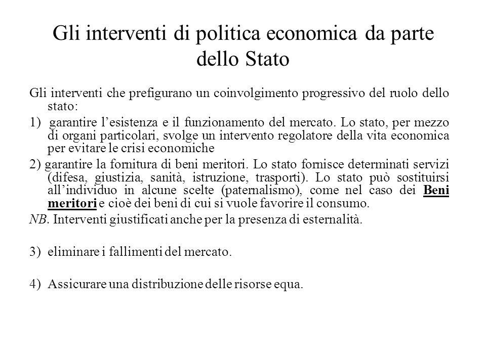 Gli interventi di politica economica da parte dello Stato Gli interventi che prefigurano un coinvolgimento progressivo del ruolo dello stato: 1) garan