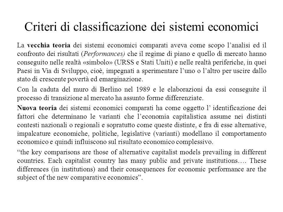 Criteri di classificazione dei sistemi economici La vecchia teoria dei sistemi economici comparati aveva come scopo l'analisi ed il confronto dei risu