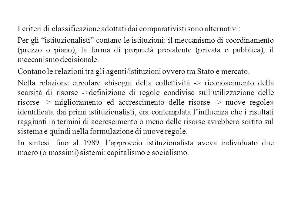 """I criteri di classificazione adottati dai comparativisti sono alternativi: Per gli """"istituzionalisti"""" contano le istituzioni: il meccanismo di coordin"""