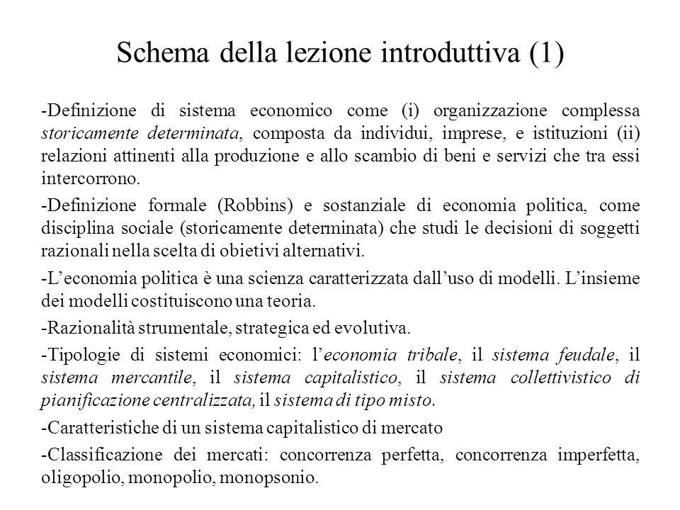 Schema della lezione introduttiva (1) -Definizione di sistema economico come (i) organizzazione complessa storicamente determinata, composta da indivi