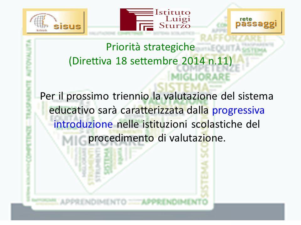 Priorità strategiche (Direttiva 18 settembre 2014 n.11) Per il prossimo triennio la valutazione del sistema educativo sarà caratterizzata dalla progressiva introduzione nelle istituzioni scolastiche del procedimento di valutazione.