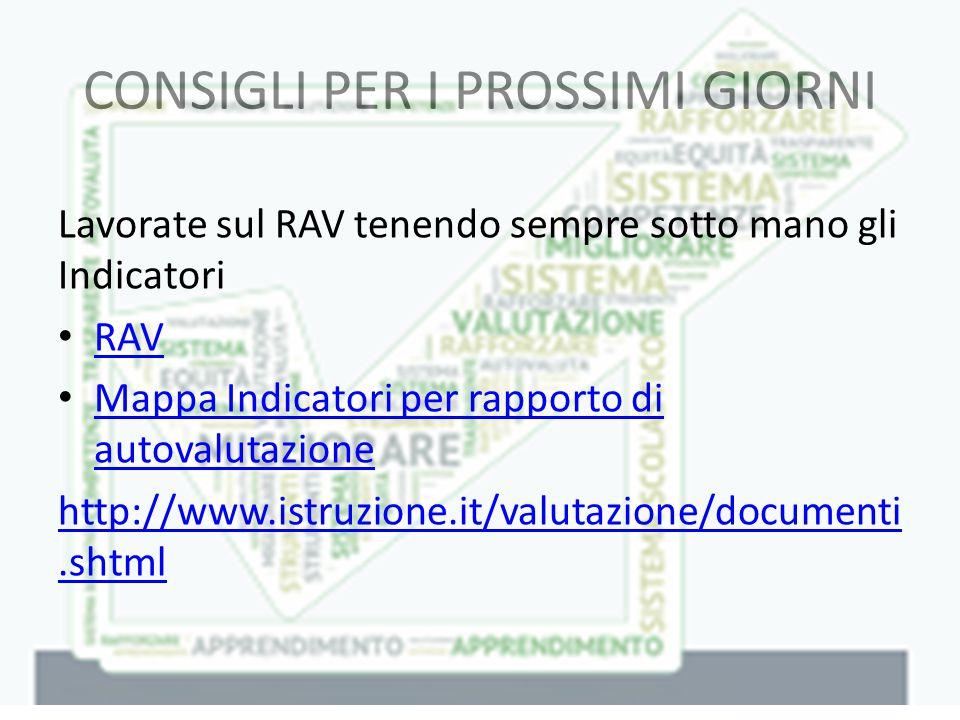 CONSIGLI PER I PROSSIMI GIORNI Lavorate sul RAV tenendo sempre sotto mano gli Indicatori RAV Mappa Indicatori per rapporto di autovalutazione Mappa Indicatori per rapporto di autovalutazione http://www.istruzione.it/valutazione/documenti.shtml