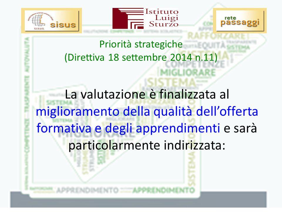Priorità strategiche (Direttiva 18 settembre 2014 n.11) -Alla riduzione della dispersione scolastica e all'insuccesso scolastico; -alla riduzione della differenza tra scuole e aree geografiche nei livelli di apprendimento degli studenti;