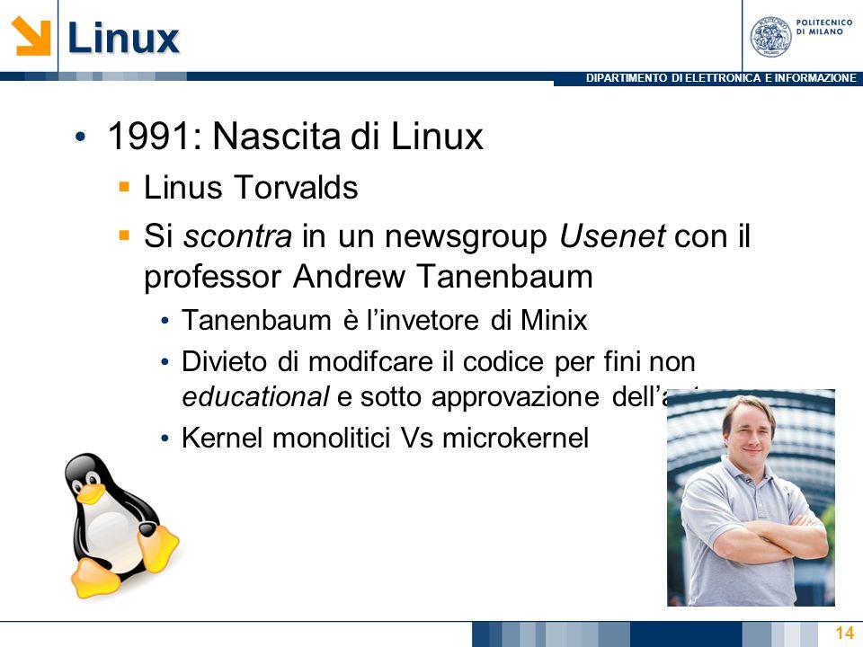 DIPARTIMENTO DI ELETTRONICA E INFORMAZIONELinux 1991: Nascita di Linux  Linus Torvalds  Si scontra in un newsgroup Usenet con il professor Andrew Tanenbaum Tanenbaum è l'invetore di Minix Divieto di modifcare il codice per fini non educational e sotto approvazione dell'autore Kernel monolitici Vs microkernel 14