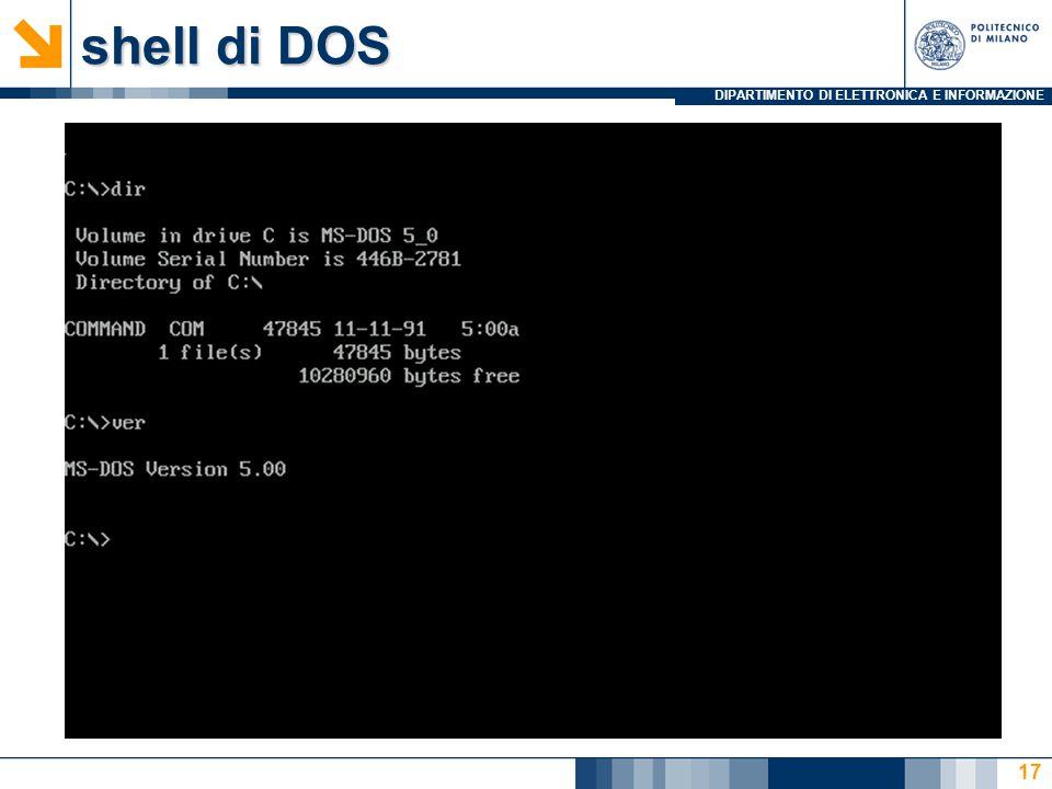 DIPARTIMENTO DI ELETTRONICA E INFORMAZIONE shell di DOS 17