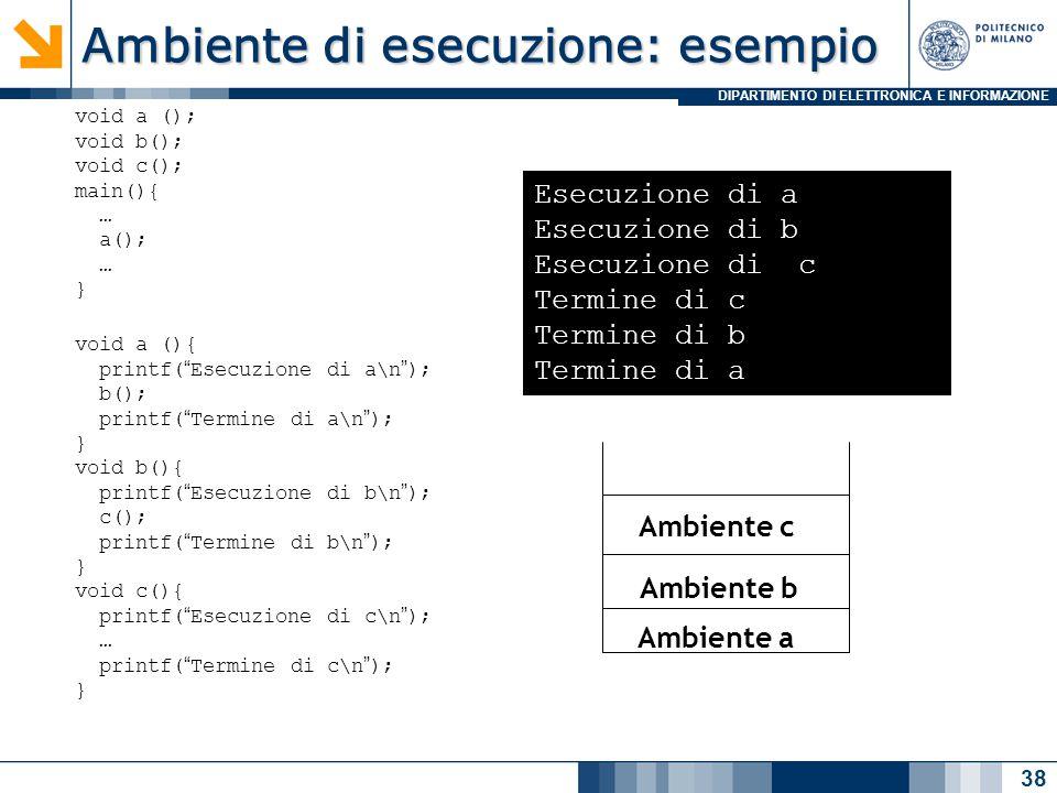 DIPARTIMENTO DI ELETTRONICA E INFORMAZIONE Ambiente di esecuzione: esempio 38 void a (); void b(); void c(); main(){ … a(); … } void a (){ printf( Esecuzione di a\n ); b(); printf( Termine di a\n ); } void b(){ printf( Esecuzione di b\n ); c(); printf( Termine di b\n ); } void c(){ printf( Esecuzione di c\n ); … printf( Termine di c\n ); } Esecuzione di a Esecuzione di b Esecuzione di c Termine di c Termine di b Termine di a Ambiente a Ambiente b Ambiente c
