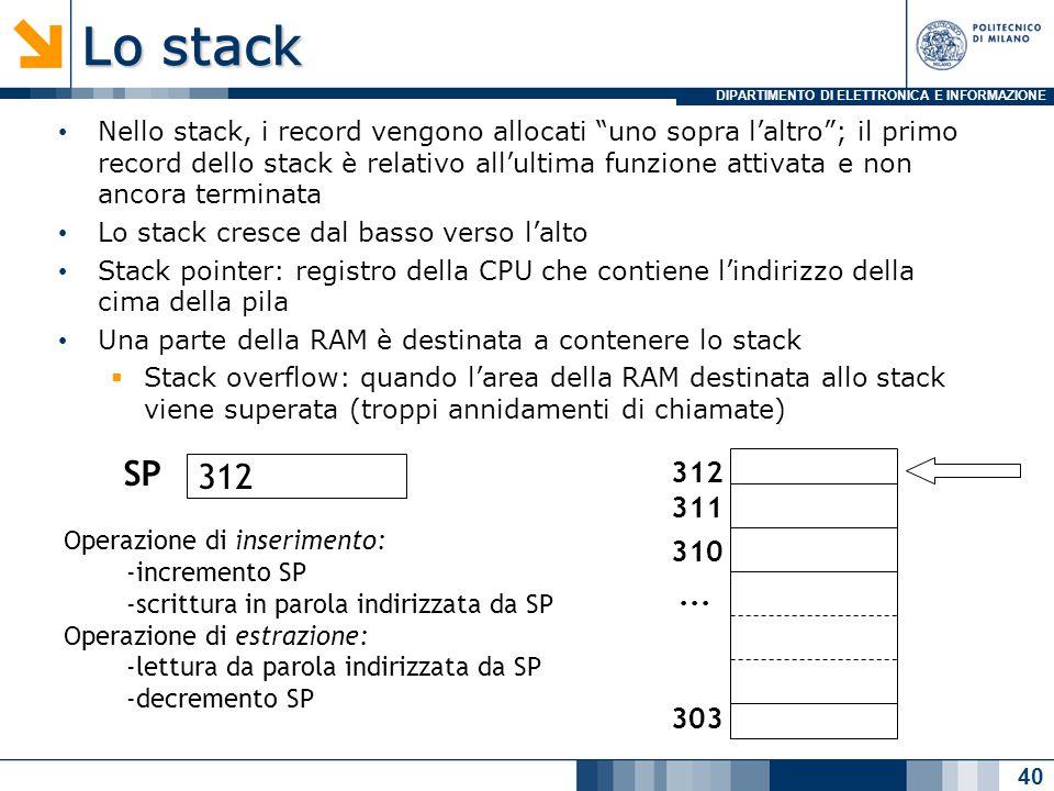 DIPARTIMENTO DI ELETTRONICA E INFORMAZIONE Lo stack Nello stack, i record vengono allocati uno sopra l'altro ; il primo record dello stack è relativo all'ultima funzione attivata e non ancora terminata Lo stack cresce dal basso verso l'alto Stack pointer: registro della CPU che contiene l'indirizzo della cima della pila Una parte della RAM è destinata a contenere lo stack  Stack overflow: quando l'area della RAM destinata allo stack viene superata (troppi annidamenti di chiamate) 40 312 311 310 303...