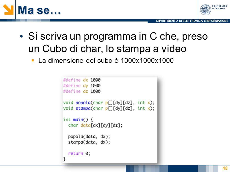 DIPARTIMENTO DI ELETTRONICA E INFORMAZIONE Ma se… Si scriva un programma in C che, preso un Cubo di char, lo stampa a video  La dimensione del cubo è 1000x1000x1000 48