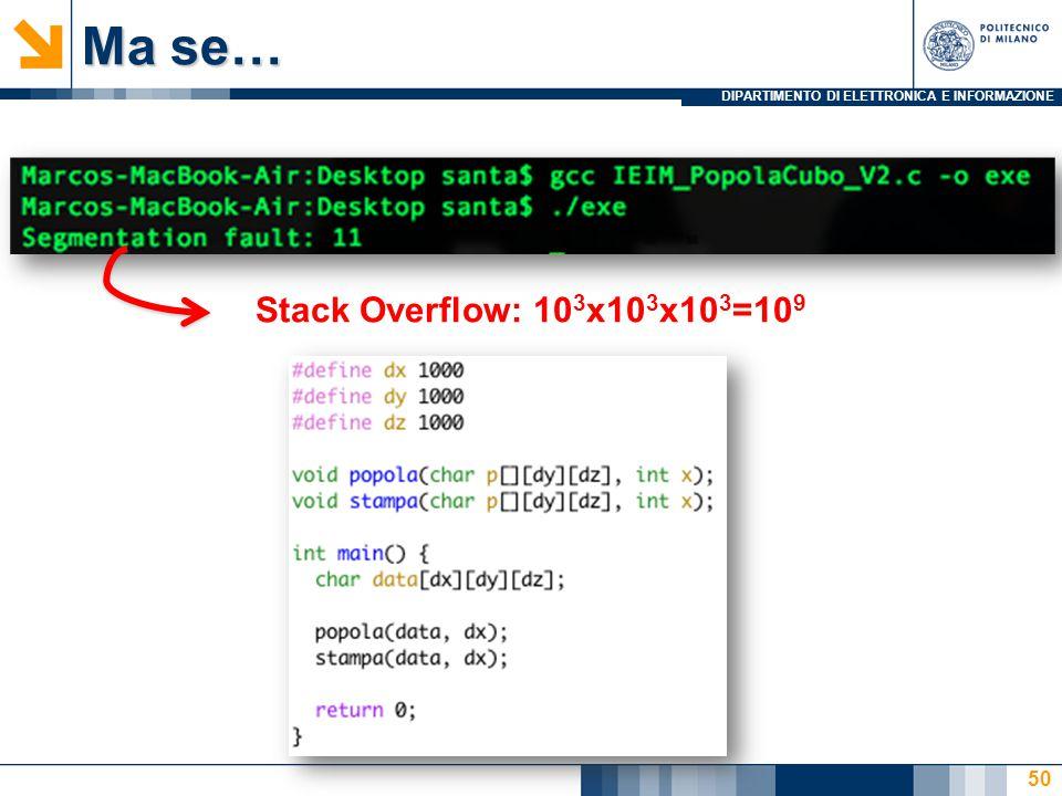 DIPARTIMENTO DI ELETTRONICA E INFORMAZIONE Ma se… 50 Stack Overflow: 10 3 x10 3 x10 3 =10 9