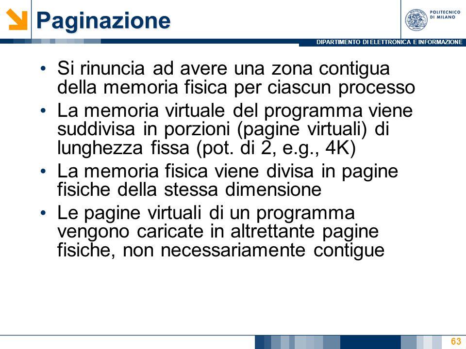 DIPARTIMENTO DI ELETTRONICA E INFORMAZIONE 63Paginazione Si rinuncia ad avere una zona contigua della memoria fisica per ciascun processo La memoria virtuale del programma viene suddivisa in porzioni (pagine virtuali) di lunghezza fissa (pot.