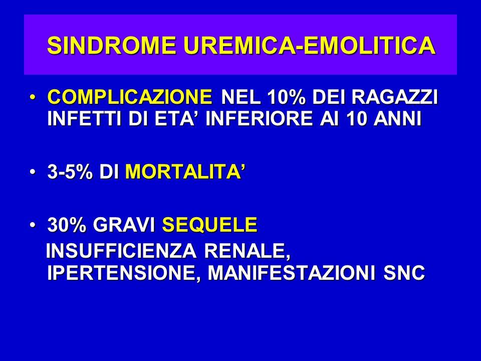 SINDROME UREMICA-EMOLITICA COMPLICAZIONE NEL 10% DEI RAGAZZI INFETTI DI ETA' INFERIORE AI 10 ANNICOMPLICAZIONE NEL 10% DEI RAGAZZI INFETTI DI ETA' INFERIORE AI 10 ANNI 3-5% DI MORTALITA'3-5% DI MORTALITA' 30% GRAVI SEQUELE30% GRAVI SEQUELE INSUFFICIENZA RENALE, IPERTENSIONE, MANIFESTAZIONI SNC INSUFFICIENZA RENALE, IPERTENSIONE, MANIFESTAZIONI SNC