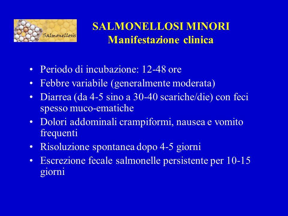SALMONELLOSI MINORI Manifestazione clinica Periodo di incubazione: 12-48 ore Febbre variabile (generalmente moderata) Diarrea (da 4-5 sino a 30-40 scariche/die) con feci spesso muco-ematiche Dolori addominali crampiformi, nausea e vomito frequenti Risoluzione spontanea dopo 4-5 giorni Escrezione fecale salmonelle persistente per 10-15 giorni