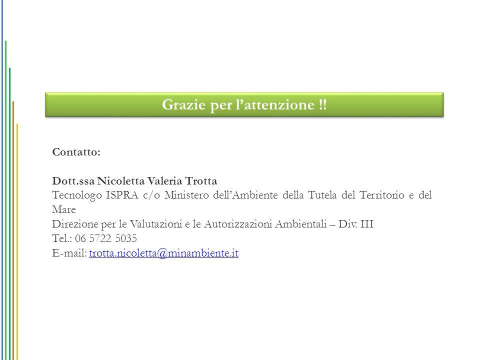 Grazie per l'attenzione !! Contatto: Dott.ssa Nicoletta Valeria Trotta Tecnologo ISPRA c/o Ministero dell'Ambiente della Tutela del Territorio e del M