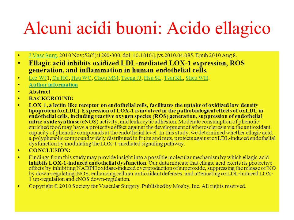 Alcuni acidi buoni: Acido ellagico J Vasc Surg. 2010 Nov;52(5):1290-300. doi: 10.1016/j.jvs.2010.04.085. Epub 2010 Aug 8.J Vasc Surg. Ellagic acid inh