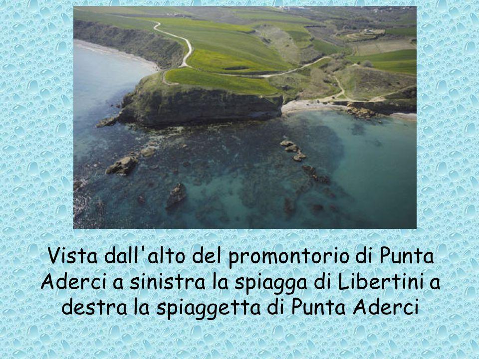 Vista dall alto del promontorio di Punta Aderci a sinistra la spiagga di Libertini a destra la spiaggetta di Punta Aderci