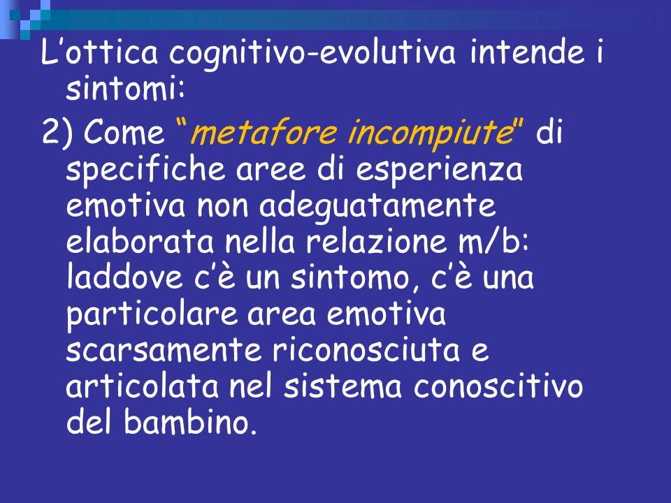 """L'ottica cognitivo-evolutiva intende i sintomi: 2) Come """"metafore incompiute"""" di specifiche aree di esperienza emotiva non adeguatamente elaborata nel"""